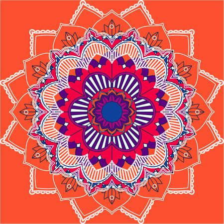 Mandala patterns on orange background illustration 向量圖像