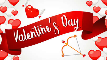 Valentine theme with red hearts and arrow illustration 向量圖像