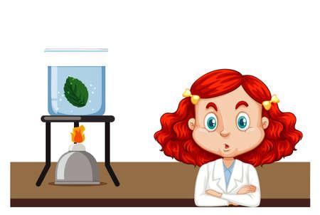Science student doing experiment with leaf illustration Ilustração