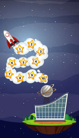 Game template with spaceship and numbers in the sky illustration