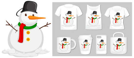 Christmas theme with snowman on product templates illustration 向量圖像