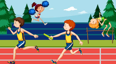 Background scene with athletes running in the track illustration Illustration