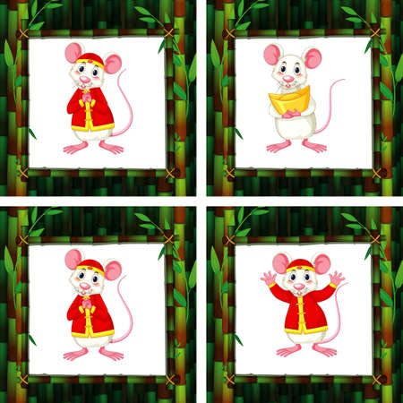 Cute rats in four different bamboo frames illustration
