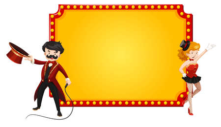 Sign template with man and woman from circus show illustration