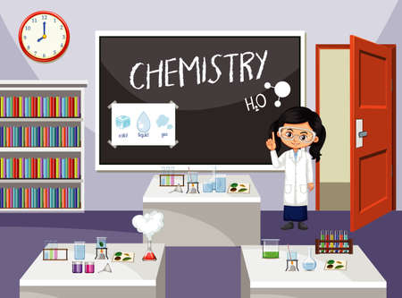 Classroom scene with science student in front of the class illustration