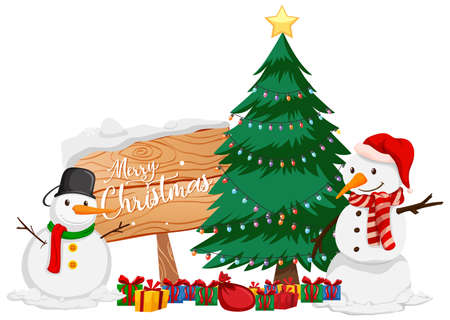 Christmas theme with snowman and christmas tree illustration 向量圖像