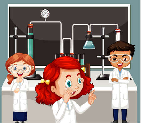 Classroom scene with three science students doing lab illustration