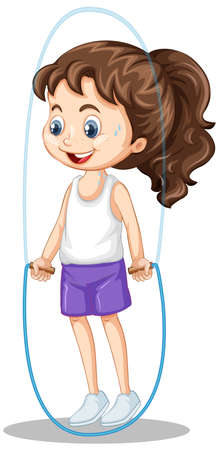 Girl jumping rope on isolated background illustration Illustration