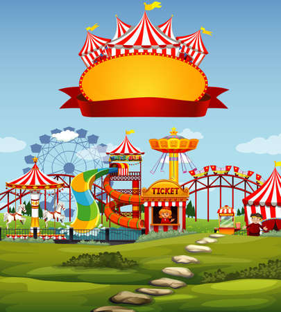 Sign template with funpark in background illustration