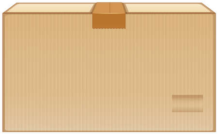Cardboard box with brown tape on white background illustration