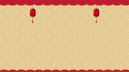 Background with brown chinese patterns illustration