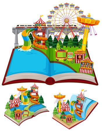 Circus scenes in pop up book illustration