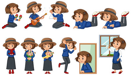 Set of happy girl doing different activities illustration