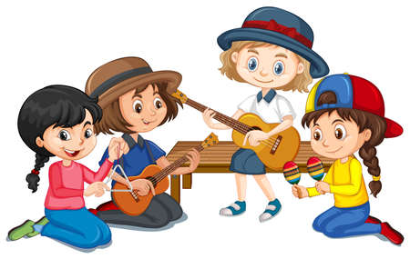 Group of girls playing different instruments on white background illustration Ilustración de vector