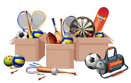 Three boxes full of sport equipments on white background illustration