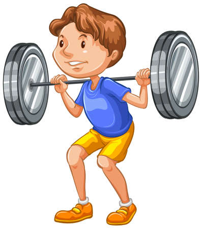 Athlete doing weightlifting on white background illustration
