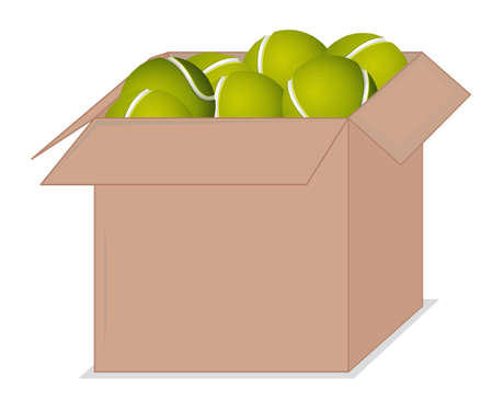 Cardboard box full of sport equipments on white background illustration