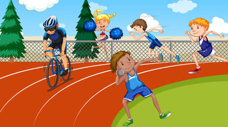 Scene with people doing track and field sports illustration