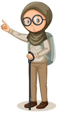 Muslim girl with hiking stick on white background illustration Ilustração