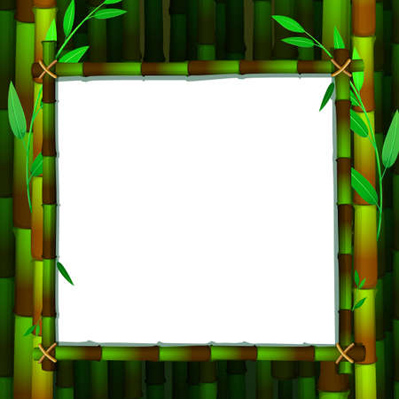 Frame template with green babmoo illustration