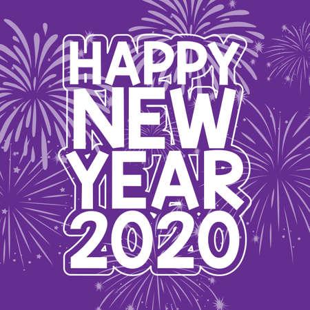 Happy new year   design in purple illustration