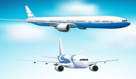 Two airplanes flying in blue sky