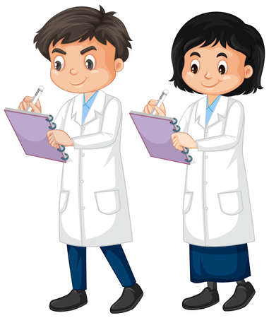 Boy and girl in lab gown writing note on white Çizim