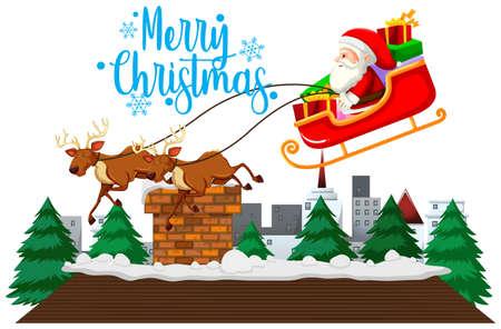 Christmas theme with Santa on sleigh illustration
