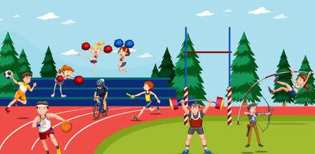 Escena de fondo con atletas haciendo ilustración de eventos de pista y campo