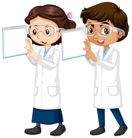 Boy and girl in science gown holding notes illustration