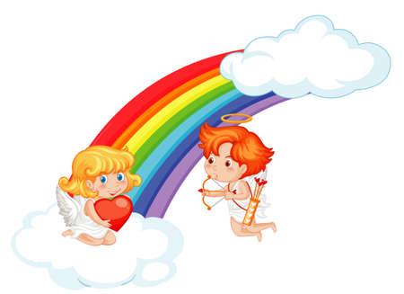 Valentine theme with cupids flying around the rainbow illustration