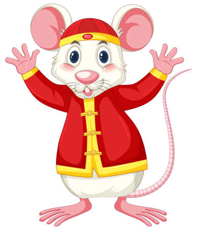 White rat in chinese costume illustration