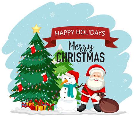 Christmas theme with Santa and snowman illustration Çizim