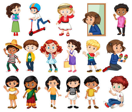 Large set of boys and girls doing different activity on white