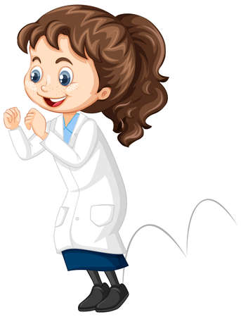 Girl in science gown jumping on isolated