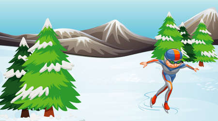 Scene with athlete doing iceskate in the field illustration