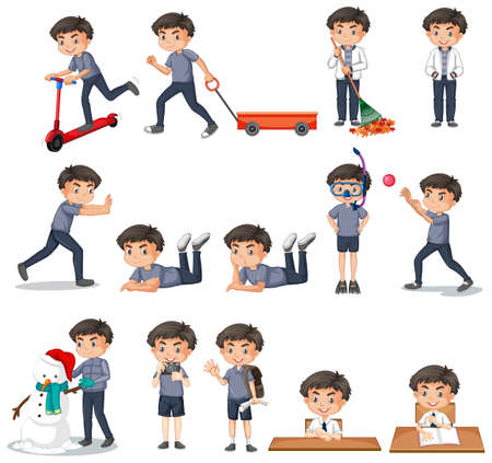 Set of boy in gray shirt doing different activities illustration