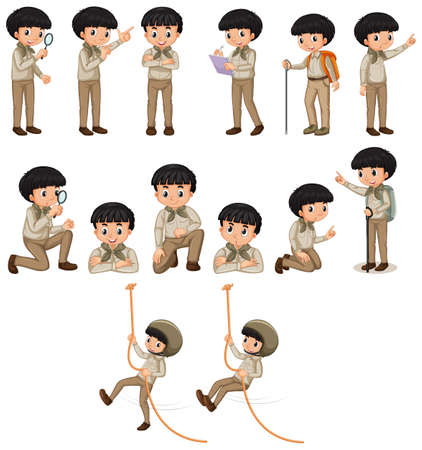 Boy in safari outfit doing many activities on white background illustration