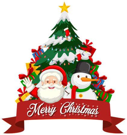 Christmas theme with Santa and tree illustration