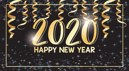 Happy new year  design for 2020 illustration Çizim