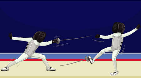 Scene with people doing fencing illustration