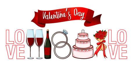 Valentine theme with many love symbols illustration