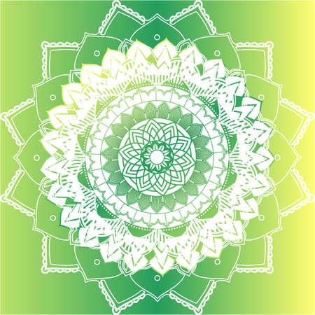 Mandala patterns on green