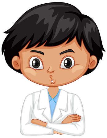 Boy in science gown on white   illustration Çizim