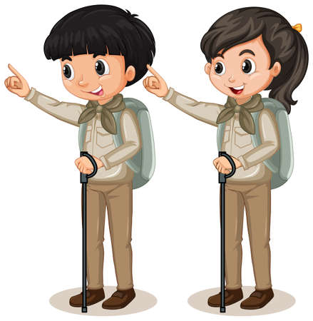 Boy and girl in scout uniform on white  illustration