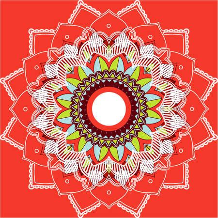 Mandala patterns on red