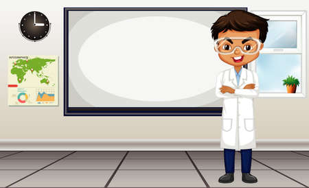 Classroom scene with science teacher standing by the board illustration