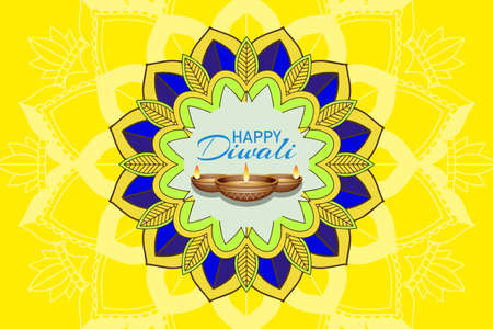 Mandala pattern for happy diwali festival illustration Çizim