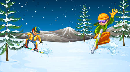 Scene with people doing snowboarding in the field illustration Çizim