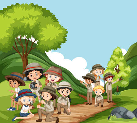 Scene with many kids in the park illustration